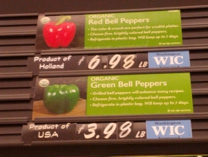 Organic bell pepper prices Aug 2015