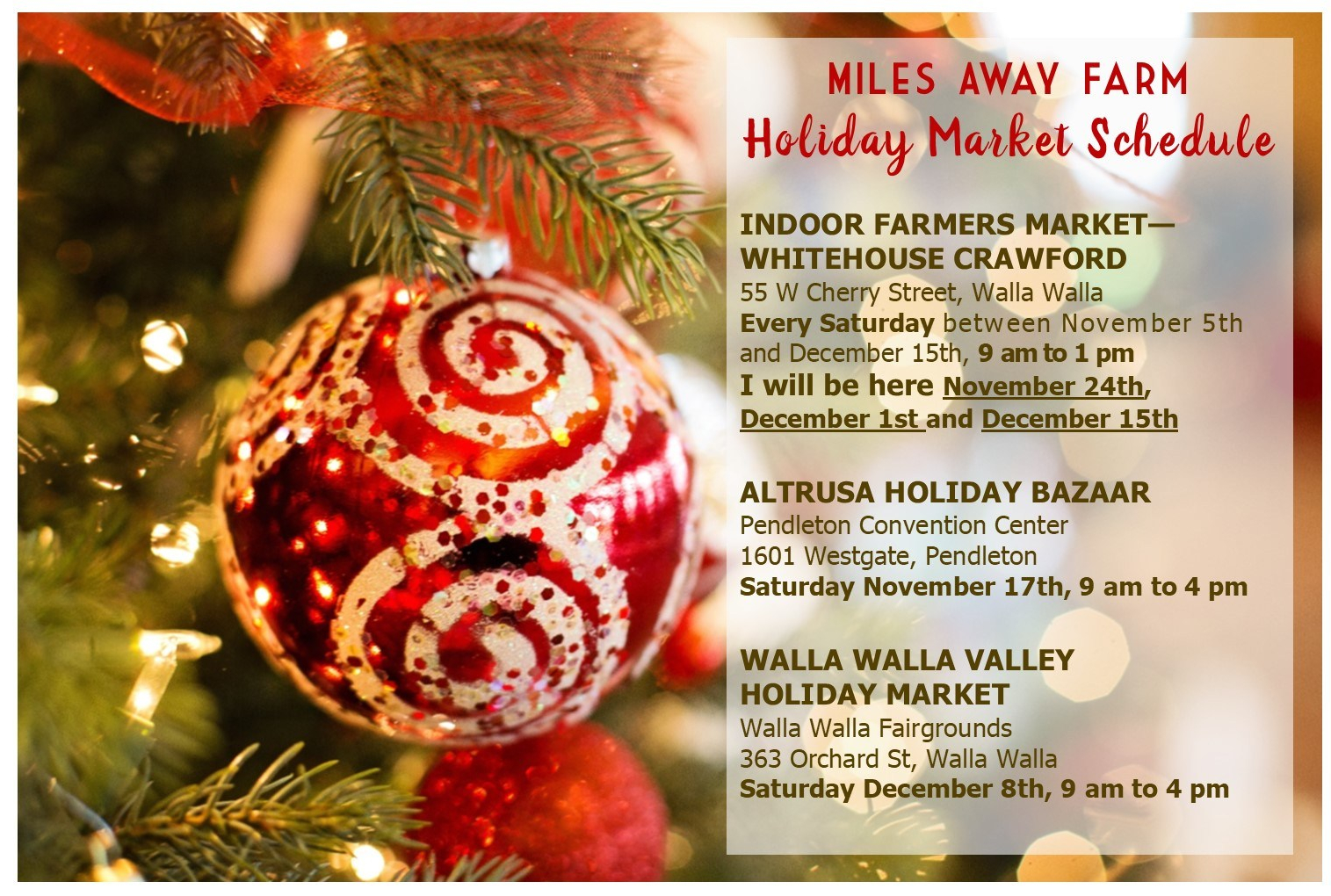 Miles Away Farm Holiday Show schedule